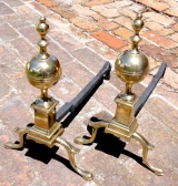 Brass Andirons on Cabriole Legs with Spurs