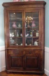 18th Century American Walnut Corner Cupboard with Candle Slide