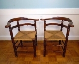 Pair of 19th Century Painted Corner Chairs with Rush Seats