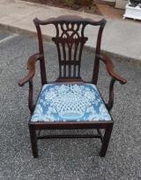 English Mahogany George III Arm Chair with Pierced Splat