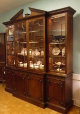 George III Breakfront Bookcase with Glazed Doors and and Broken Arch Pediment