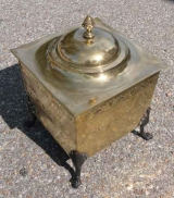 Square Brass Coal hod with Lid