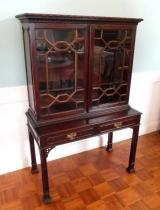 Small Mahogany Twp Piece Display Cabinet with Glazed Doors