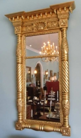 Federal Gilt Pier Mirror with Spiral Carved Columns