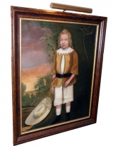 Naïve Painting of a Young Boy with Golden Locks