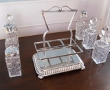 Siver Plate Cruet Stand with Original Glass Bottles, marked 1860-70
