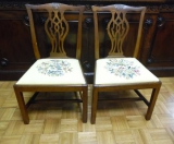 Pair of Faded Mahogany Chippendale Side Chairs
