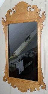 Curly Maple Chippendale Style Mirror