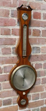 Fine Quality Wheel Barometer from Liverpool with Swan Neck Pediment