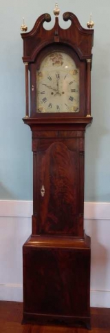 Flame Mahogany American Tall Case Clock with Patriotic Shields