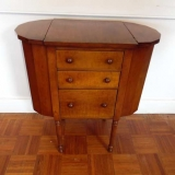 Maple Sewing Chest with Three Drawers and Reeded Legs