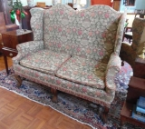 Centennial Two Seat Mahogany Armed Settee with Double Arched back