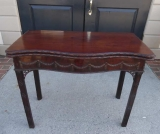 Mahogany Serpentine Front Fold Over Game Table with Green Beize Top