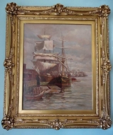 """Oil on canvas - """"Drying Sails"""" by John I. Coggeshall, 1897"""