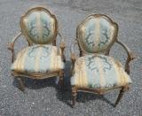 Pair of 18th Century Italian Arm Chairs with Original Blue Paint