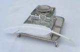 Lead Crystal Ink Well with Sterling Top and Tray