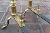 Pair of Federal Brass Andirons signed John Molineaux of Boston