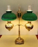 Victorian Double Arm Brass Student Oil Lamp