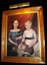 Primitive Portrait of Sisters with Bird's Eye Maple Frame