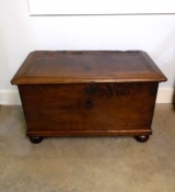 Early Walnut Strong Box with Ball Feet and Impressive Hardware