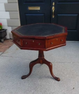 Small Mahogany Drum Table with Octagon Shaped Top Covered in Leather