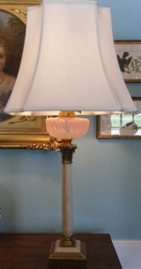 Handsome Fluid Lamp with Opalescent to Pink Swirl Glass Font & Corinthain Column