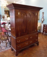 Early 19th Century Two Piece Cherry Linen Press