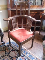 Chippendale Comb back corner chair with pierced splats